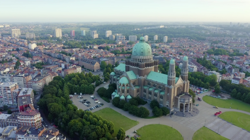 Brussels, Belgium. National Basilica of the Sacred Heart. Early morning, Aerial View, Point of interest | Shutterstock HD Video #1038416720