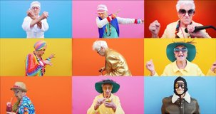 Funny grandmother portraits.granny fashion model on colored backgrounds. Collection of several videos into a collage