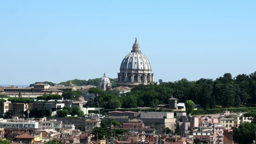 Dome of St. Peter, Vatican City, Rome. Panoramic view from Monte Mario | Shutterstock HD Video #1038424841