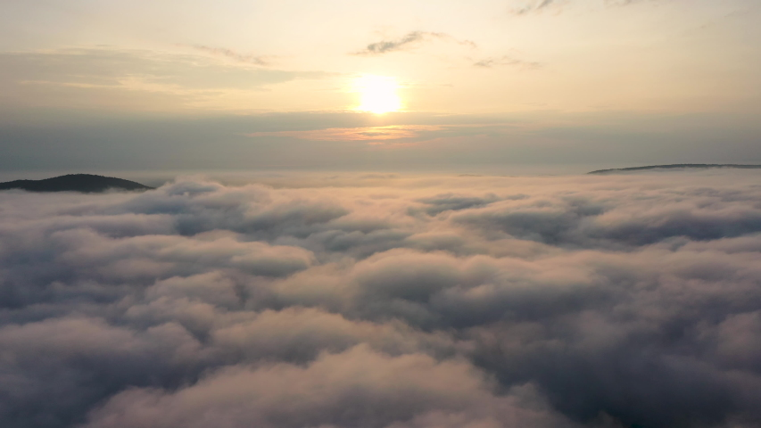 Aerial View. Flying in fog.Flight above clouds    Shutterstock HD Video #1038432875