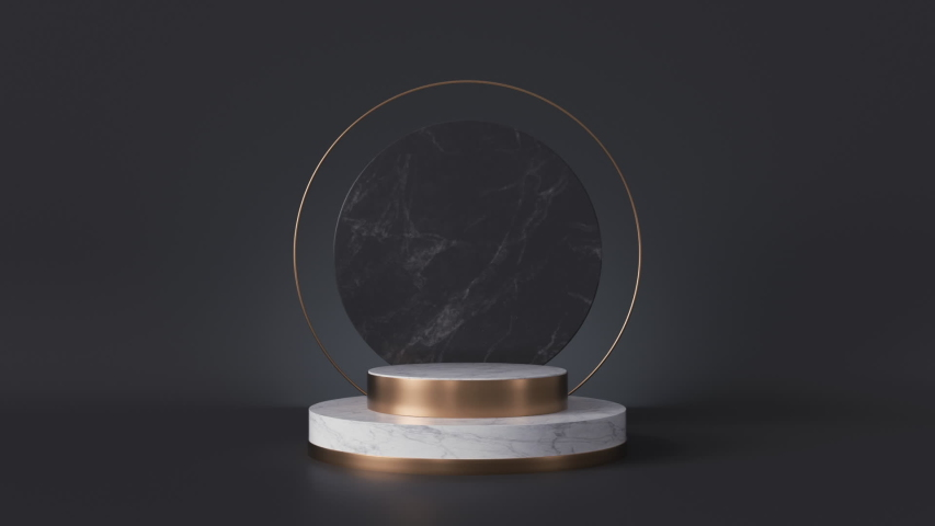 white pedestal appearing on black background, round marble slab, memorial stone board, blank shop display, fashion podium, cylinder steps, abstract minimal concept Royalty-Free Stock Footage #1038446681