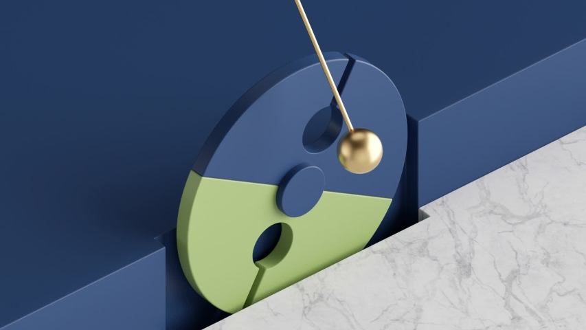 Seamless minimal animation, golden ball pendulum, blue green rotating wheel, simple geometric shapes. Cycled movement. Looped background, live image, modern animated poster. Endless motion design.