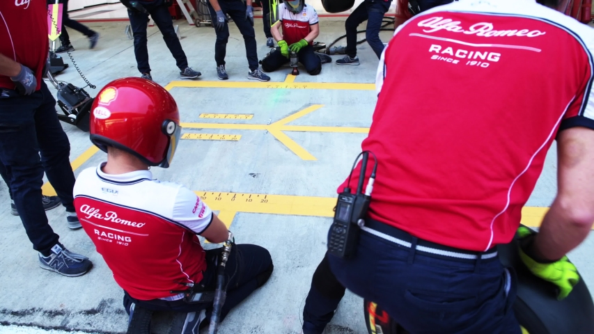 SOCHI, RUSSIA - 28 September 2019: Pit Stop Training at Formula 1 Grand Prix of Russia 2019