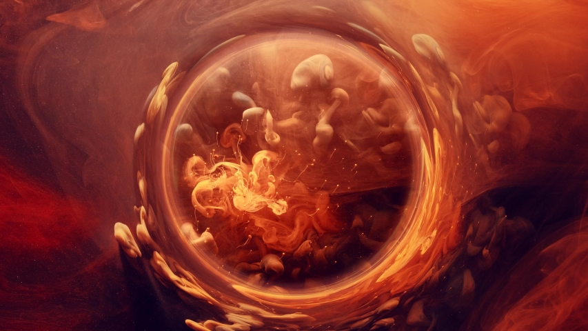 Ink water swirl. Magic firework. Orange sparks smoke circle motion. | Shutterstock HD Video #1038478976