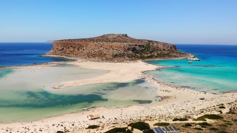 Amazing scenery of Greek islands. Balos bay in Crete island. Difficult to reach paradise beach.