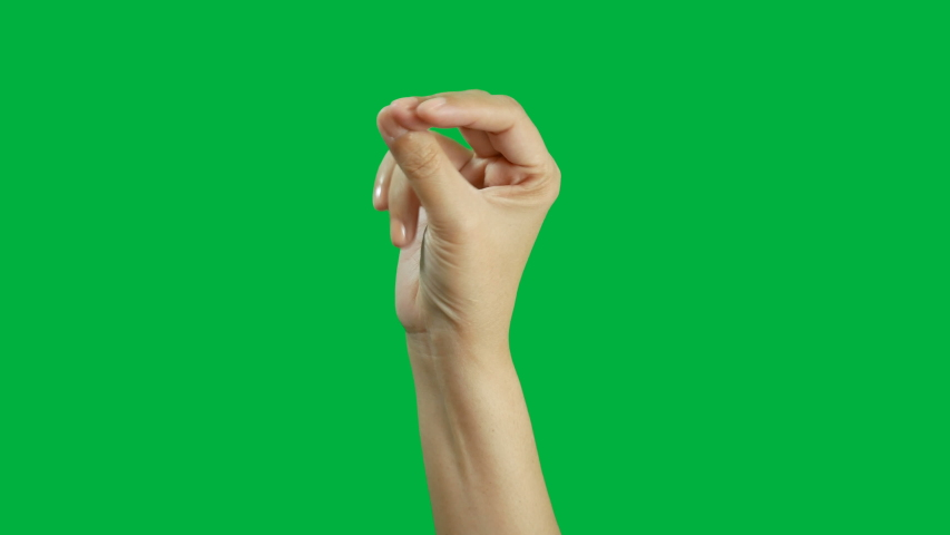4K. close-up woman hand snap finger or clicks hand isolated on chroma key green screen | Shutterstock HD Video #1038509648