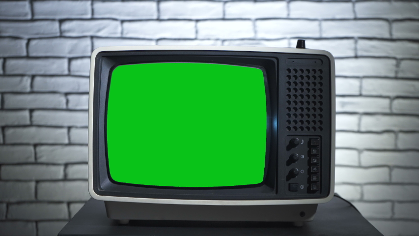 Turning on the old tv with chroma key | Shutterstock HD Video #1038510506