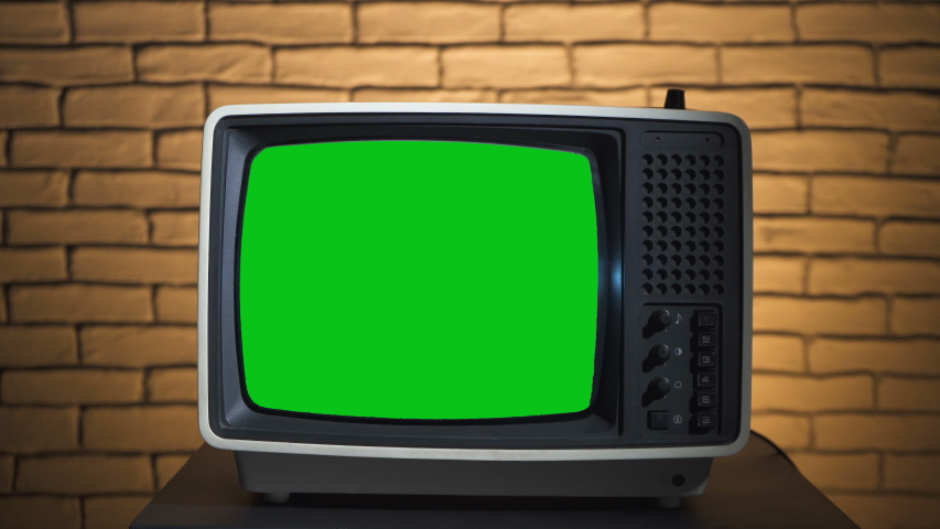 Video of turning on the retro tv with green screen | Shutterstock HD Video #1038510515