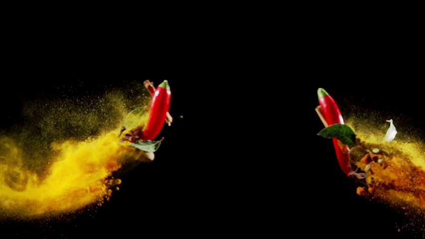 Exotic Spices paprika chili peppercorn bay leaf curry collide on black background super slow motion Royalty-Free Stock Footage #1038519089