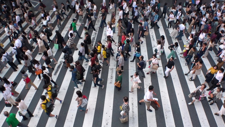 UMEDA, OSAKA, JAPAN - CIRCA SEPTEMBER 2019 : Aerial high angle view of zebra crossing near Osaka train station. Crowd of people at the street. Shot in busy rush hour. Wide slow motion.