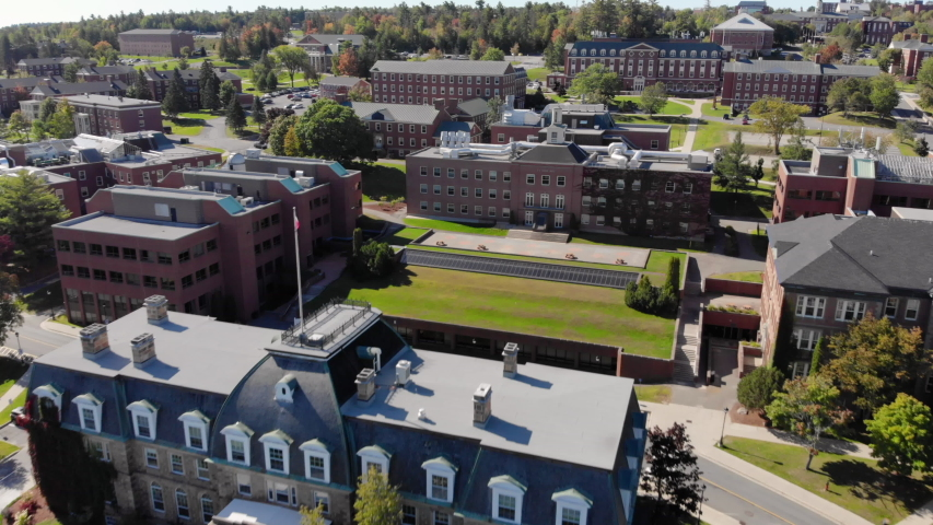 AERIAL: Moving Backwards From Sir Howard Douglas Hall on the University of New Brunswick Fredericton Campus