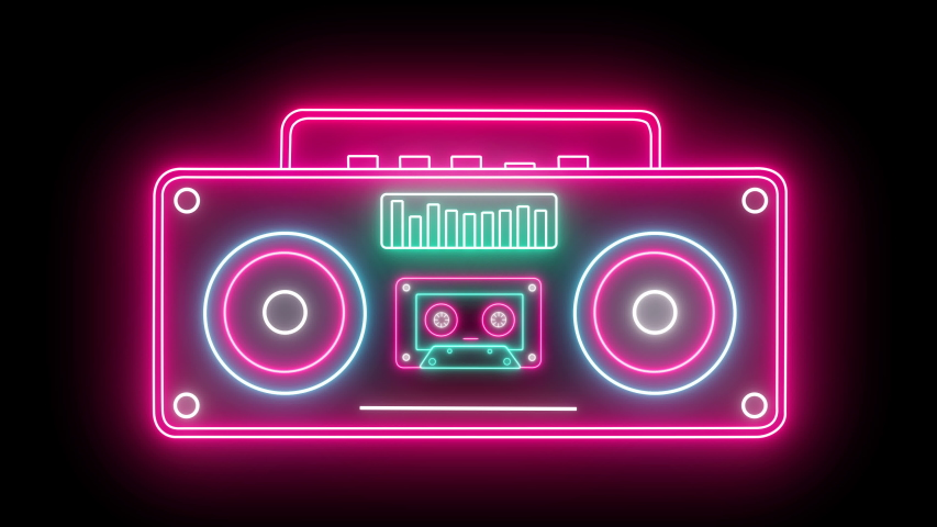 Retro Neon Rradio And Cassette Stereo Recorder Animated On A Black Background. Seamless Loop