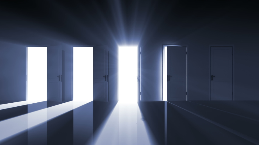 Doors Opening in the Dark Room to the Bright Light. Right Choice Concept. Beautiful 3d Animation Moving Into Central Doorway. Alpha matte . 4k Ultra HD 3840x2160.