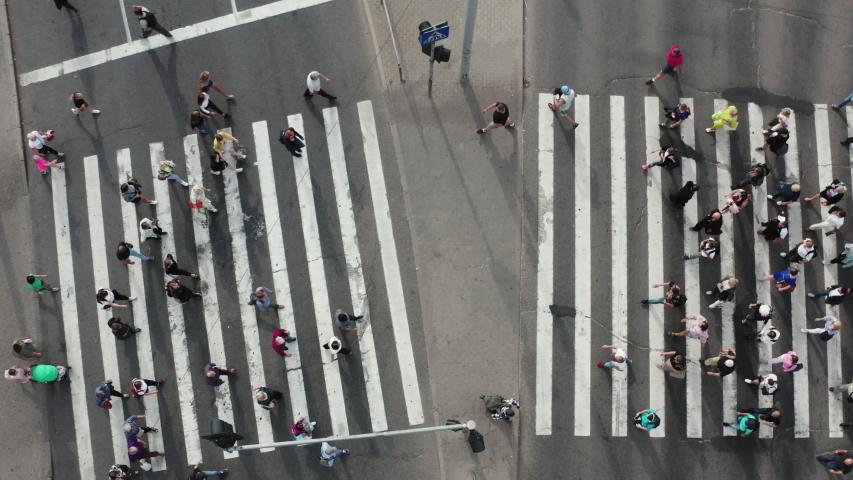 Crosswalk timelapse from drone fly & hyperlapse of the street | Shutterstock HD Video #1038543707