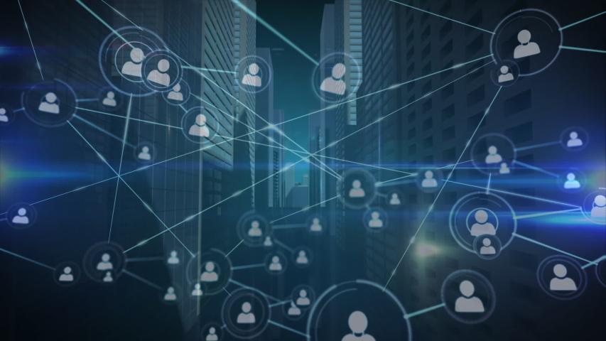 Animation of network of connecting people icons with a rotating blue 3d architectural city model on a blue background | Shutterstock HD Video #1038566321