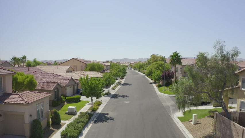 Las Vegas, Nevada suburban neighborhood fly by