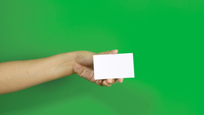 4K. set of woman hand showing blank white business name card paper in 3 different actions isolated on chroma key green screen Royalty-Free Stock Footage #1038589514