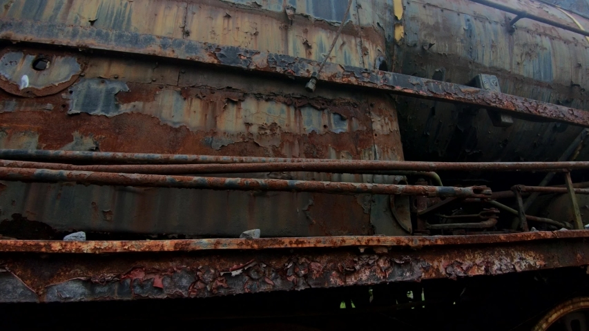 4K Left pan close up old rusty abandoned steam locomotive | Shutterstock HD Video #1038591380