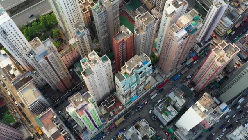 Yau Ma Tei, Hong Kong 25 September 2019: Top view of Hong Kong city #1038609962