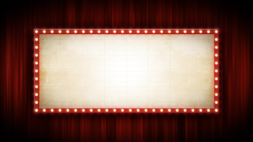 Theater Or Cinema Background With Marquee Sign And Red Curtains/ 4k animation of a cinema or broadway theater background with marquee sign and red curtains | Shutterstock HD Video #1038613775