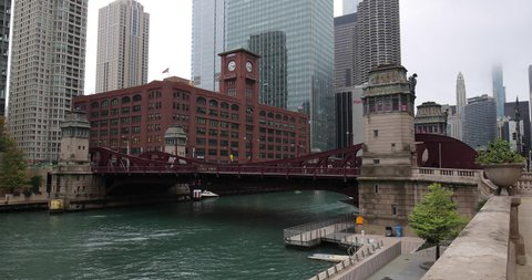 CHICAGO - CIRCA OCTOBER 2019: Chicago river downtown buildings skyline