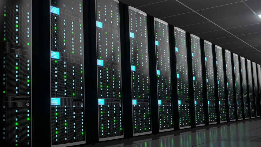 3D animation/ 3D rendering - 4K server room - data center - storage/ hosting concept #1038624137