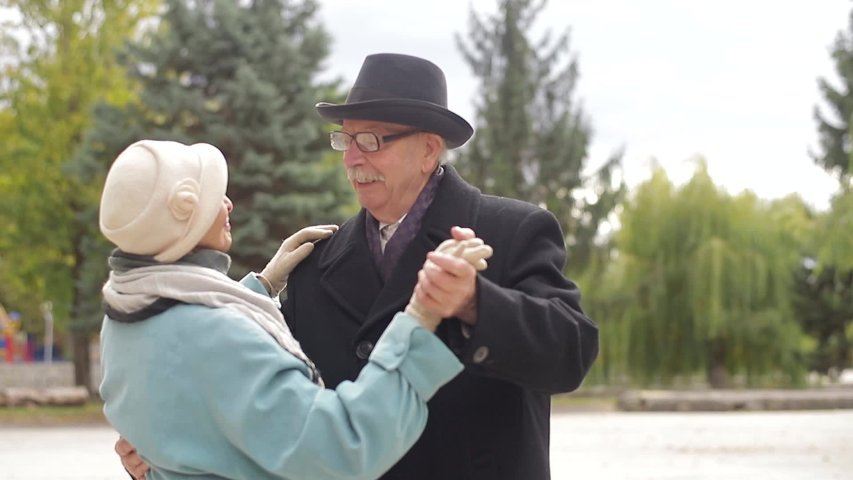 Happy mature older couple dancing laughing in the park, beautiful romantic middle-aged older grandparents relaxing having fun together in the park #1038626765