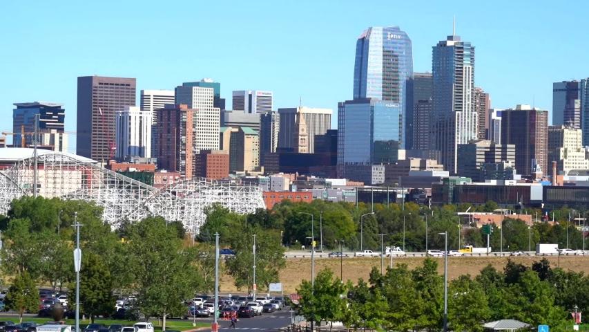 Denver, Colorado, USA- September 28, 2019: HD Timelapse- Milehigh HD Timelapse of Denver's skyline with blue skies