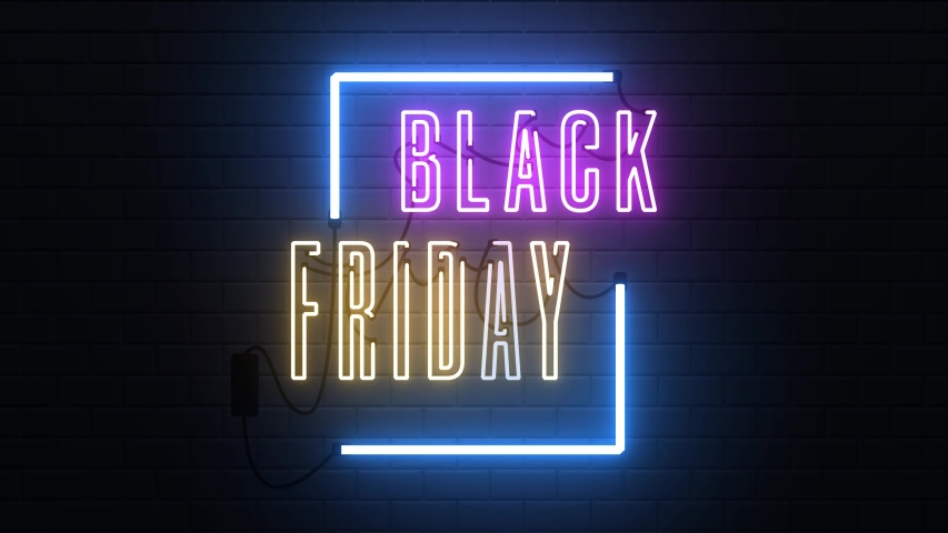 Black Friday neon sign banner background for promo video. concept of sale and clearance Royalty-Free Stock Footage #1038638888