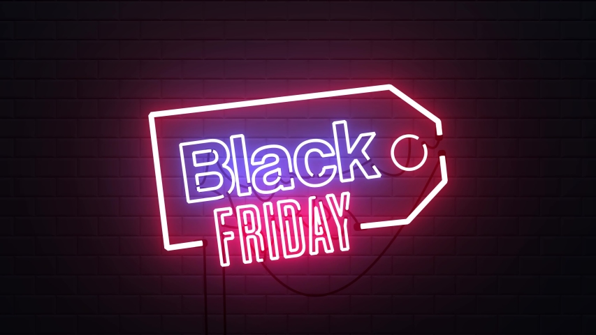 Black Friday sale neon sign banner background for promo video. concept of sale and clearance