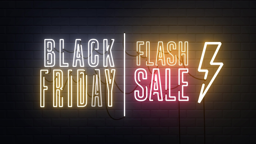 Black Friday sale flash sale neon sign banner background for promo video. concept of sale and clearance