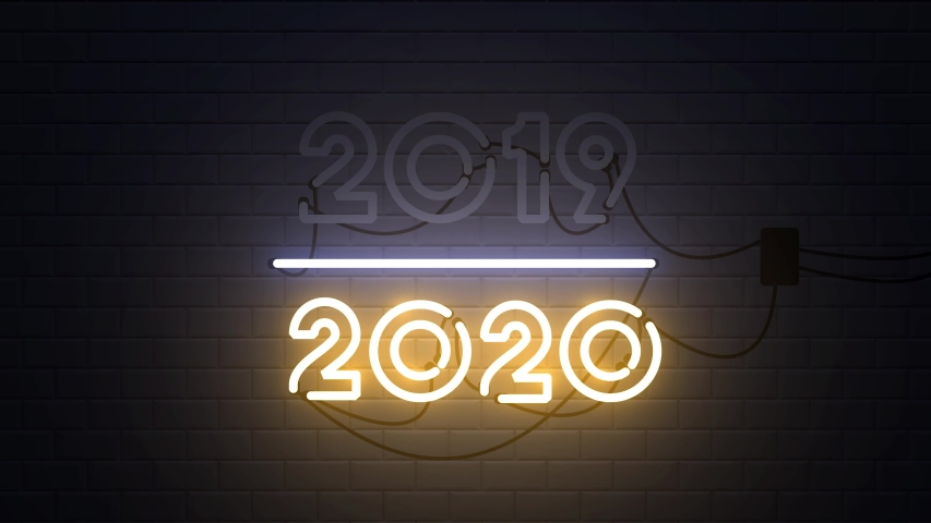 2019-2020 change Happy New Year 2020 neon sign background new year resolution concept