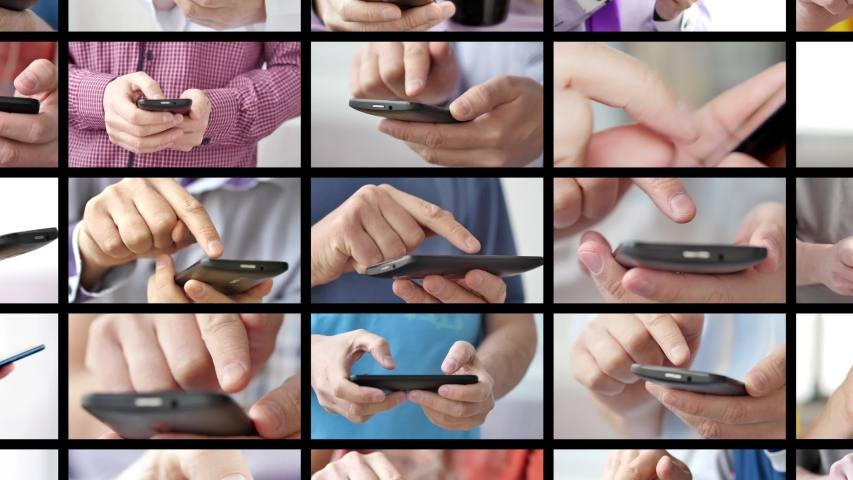 Close-up of hands holding smartphone, typing text on touch screen and using applications. A person typing message in social network and looking for information. Media wall with a lot of pictures | Shutterstock HD Video #1038659966