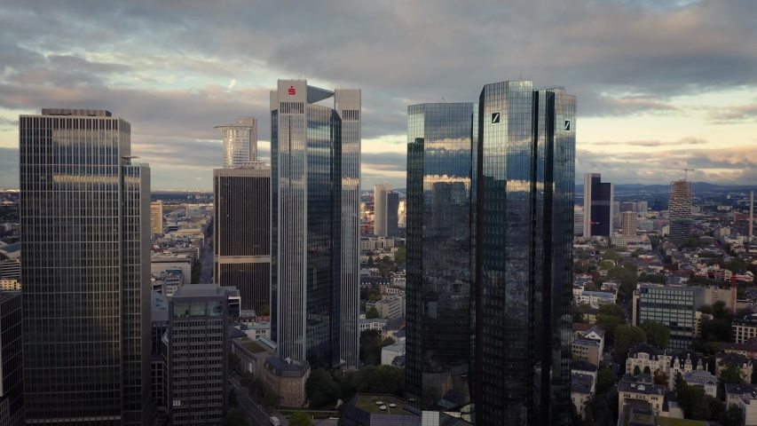 05 October 2019 Frankfurt am Main, Germany. Aerial flying over the futuristic skyline the business and financial centre of Frankfurt am Main. Landmark of Western Europe.