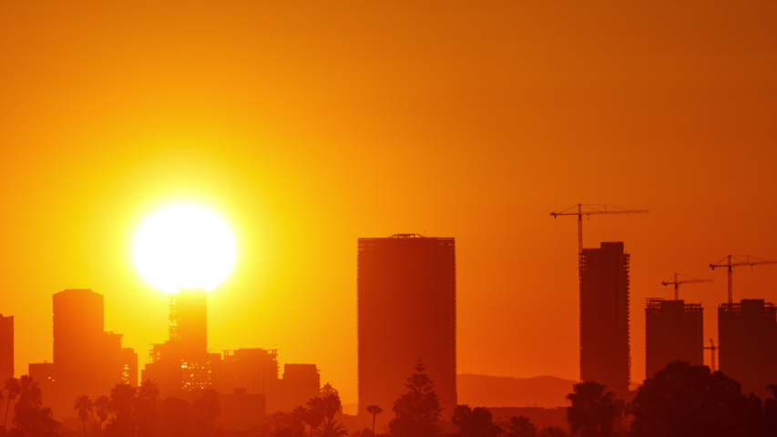 Time Lapse of the sun rising from behind downtown Los Angeles