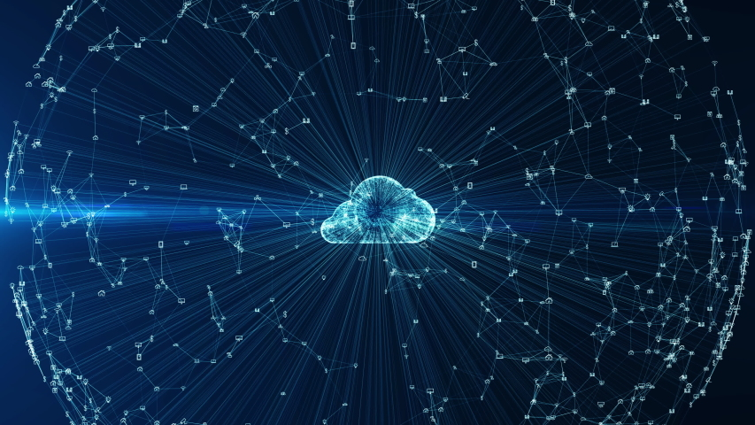 Cloud computing and Big data concept. 5G connectivity of digital data and futuristic information. Abstract hi speed internet of internet of things IOT  big data cloud computing . | Shutterstock HD Video #1038670226