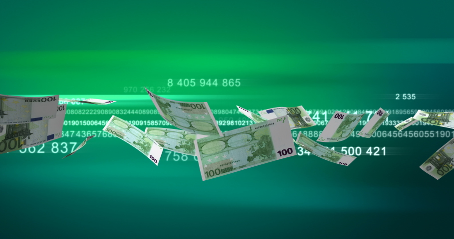 Flying Euros (seamless) 3D rendering | Shutterstock HD Video #1038678035