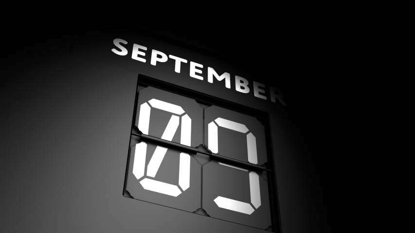 September 10 date. digital calendar change to September 10 animation