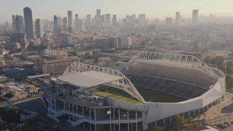 Bloomfield soccer stadium in Tel Aviv, Israel: 10.09.2019: 4k aerial drone view