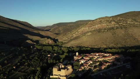 """Aerial view of Yanguas, one of the """"Most Beautiful Villages in Spain"""", in the province of Soria, Castilla y Leon, Spain"""