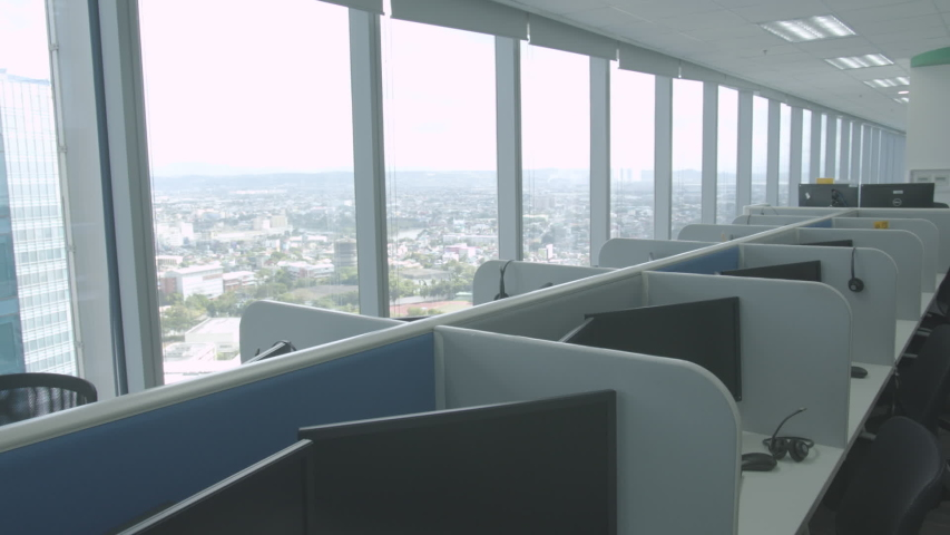 Fresh And Modern Corporate Office Space - Desk And Chairs Window Side