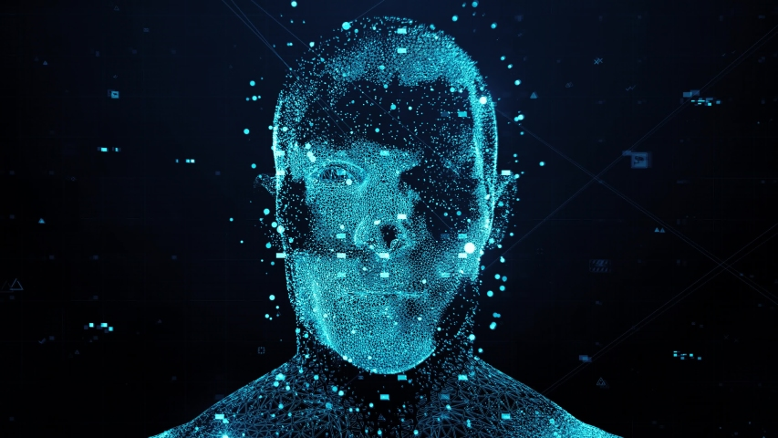 3d render of abstract face analysis. Biometric identification scan concept. Authentication technology. Loopable animation. | Shutterstock HD Video #1038728387