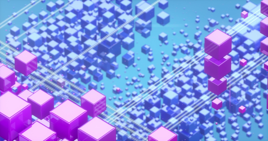 3D animation of colorful rows of cubes floating in space in 4K creating abstract graphic background texture Royalty-Free Stock Footage #1038729140
