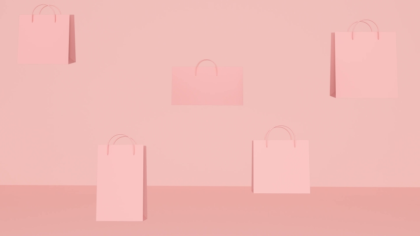 Pink abstract background with flying shopping bags | Shutterstock HD Video #1038732236