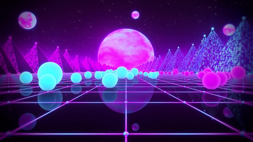 3D Retro Neon Spheres Synthwave VJ Loop Motion Background | Shutterstock HD Video #1038743201
