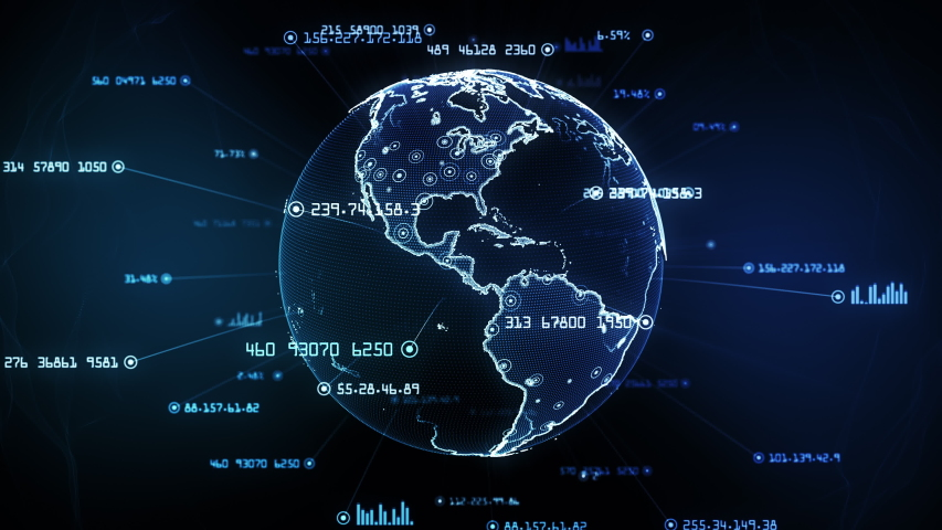 Global network connections. Connecting big data around the world. You can use it for a technology, communication or social media background. Blue version. Seamless loop. Alpha matte included. 4K | Shutterstock HD Video #1038752168