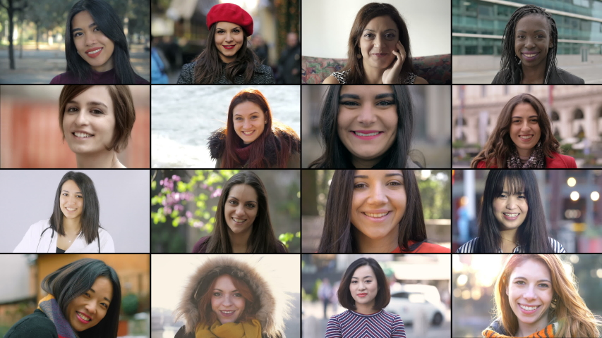 Happiness, Lifestyle concept.Multiscreen on different race,age people smiling | Shutterstock HD Video #1038799274