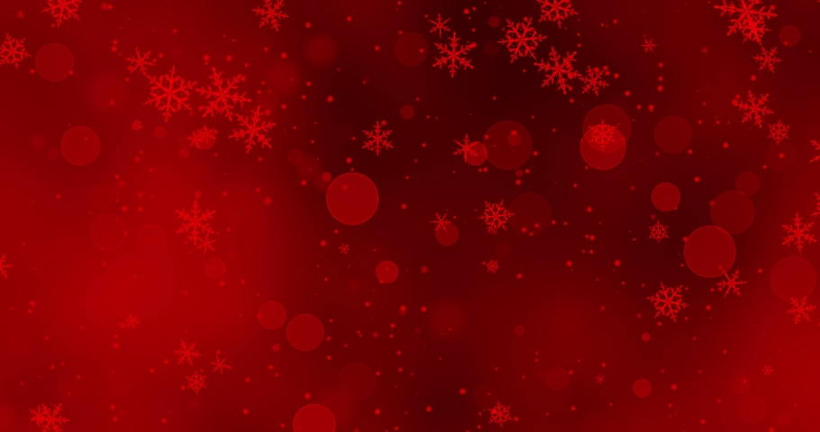 Red confetti, snowflakes and bokeh lights on the red Christmas background. | Shutterstock HD Video #1038807716