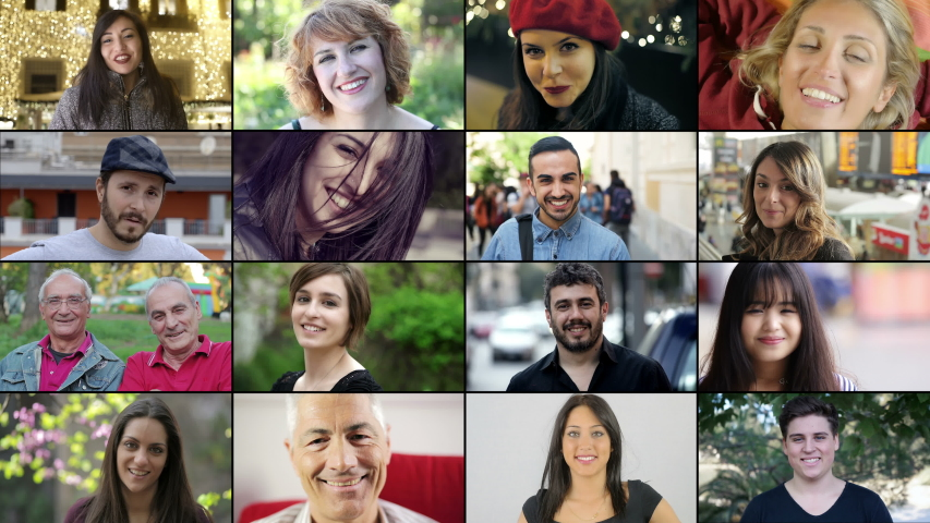 Multiscreen on smiling different for age, race people smiling at camera