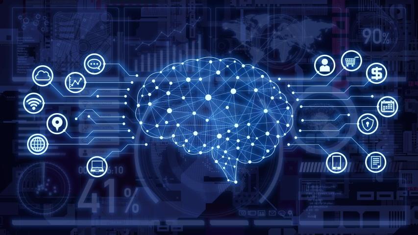 AI (Artificial Intelligence) concept. Communication network.   Shutterstock HD Video #1038809195